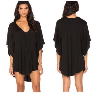 Riller & Fount Liza black V-neck tunic mini dress